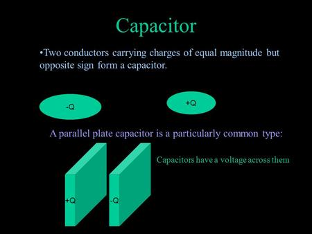 Capacitor Two conductors carrying charges of equal magnitude but opposite sign form a capacitor. +Q -Q A parallel plate capacitor is a particularly common.