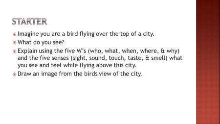  Imagine you are a bird flying over the top of a city.  What do you see?  Explain using the five W's (who, what, when, where, & why) and the five senses.