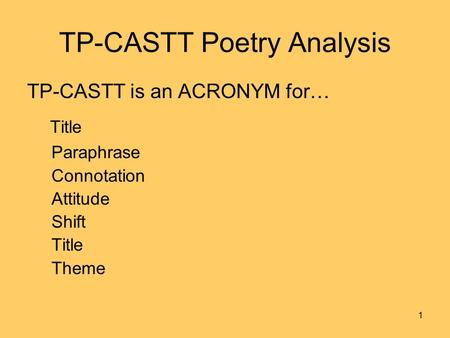 TP-CASTT Poetry Analysis TP-CASTT is an ACRONYM for… Title Paraphrase Connotation Attitude Shift Title Theme 1.