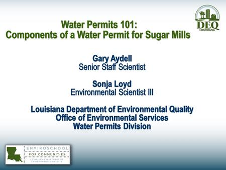 The Application Process In accordance with LAC 33:IX.2501.D.2 – All sugar mills with effective permits are required to submit a renewal application 180.