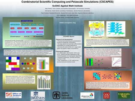 CSCAPES Mission Research and development Provide load balancing and parallelization toolkits for petascale computation Develop advanced automatic differentiation.