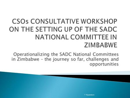 Operationalizing the SADC National Committees in Zimbabwe – the journey so far, challenges and opportunities T Nyandoro.
