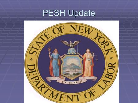 PESH Update. PESH Public Employer Safety and Health Responsible for the protection of the 1.3 million public employees within the state of New York. Responsible.