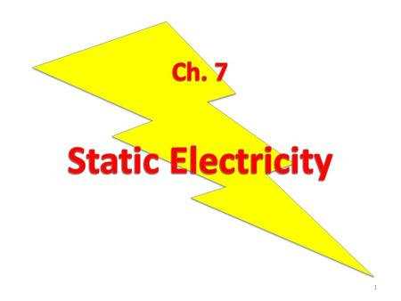 1. 7.1 Static Charge Static electricity is electric charge that can be held in one place Electrons have a negative charge, protons have a positive charge,