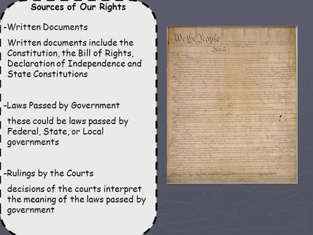 Sources of Our Rights -Written Documents Written documents include the Constitution, the Bill of Rights, Declaration of Independence and State Constitutions.