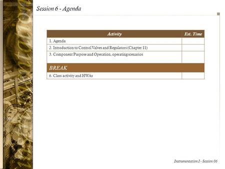 Session 6 - Agenda BREAK Activity Est. Time 1. Agenda