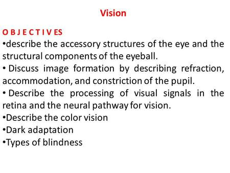 Vision O B J E C T I V ES describe the accessory structures of the eye and the structural components of the eyeball. Discuss image formation by describing.