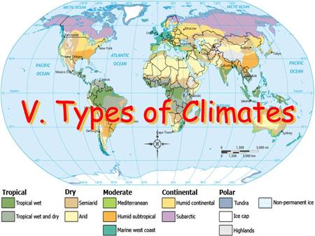 V. Types of Climates. A. Climate Regions Patterns of temperature, precipitation, and wind create world climate regions Climate Regions- Areas that share.