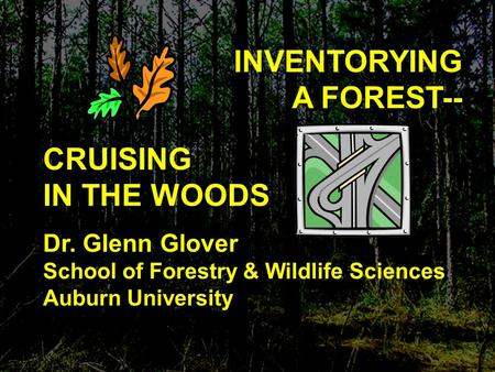 INVENTORYING A FOREST-- CRUISING IN THE WOODS Dr. Glenn Glover School of Forestry & Wildlife Sciences Auburn University.