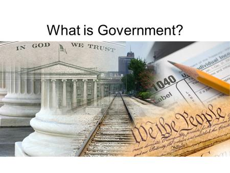 What is Government?. Defining Government Government is the system by which people and society makes and enforces policies and laws. Gov. ' t can and does.