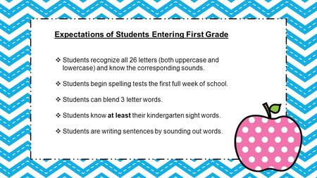 Expectations of Students Entering First Grade  Students recognize all 26 letters (both uppercase and lowercase) and know the corresponding sounds.  Students.