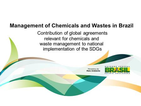 Management of Chemicals and Wastes in Brazil Contribution of global agreements relevant for chemicals and waste management to national implementation of.