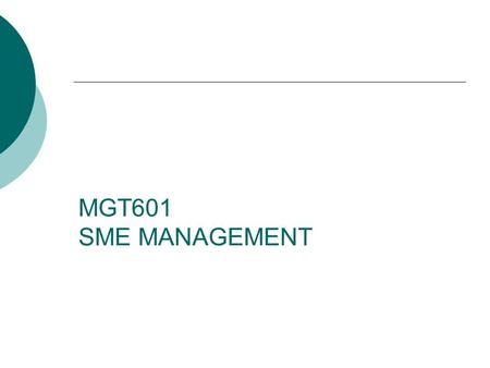 MGT601 SME MANAGEMENT. Lesson 05 Small Entrepreneurs in Pakistan and Role of SME in Global and Regional Level.