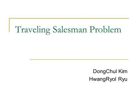 traveling salesman problem hilarity optimization