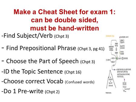 -Find Subject/Verb (Chpt 3) - Find Prepositional Phrase (Chpt 3, pg 41) - Choose the Part of Speech (Chpt 3) -ID the Topic Sentence (Chpt 16) -Choose correct.
