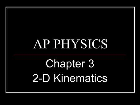 AP PHYSICS Chapter 3 2-D Kinematics. 2-D MOTION The overriding principle for 2-Dimensional problems is that the motion can be resolved using vectors in.