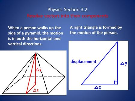 Physics Section 3.2 Resolve vectors into their components When a person walks up the side of a pyramid, the motion is in both the horizontal and vertical.