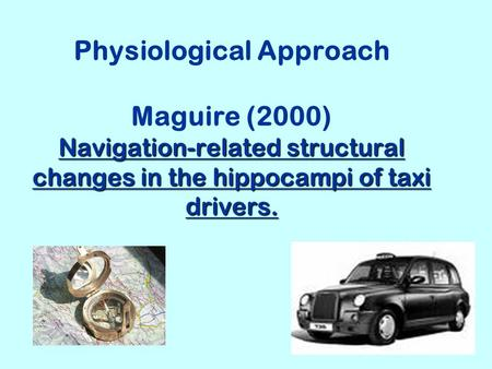 Navigation-related structural changes in the hippocampi of taxi drivers. Physiological Approach Maguire (2000) Navigation-related structural changes in.