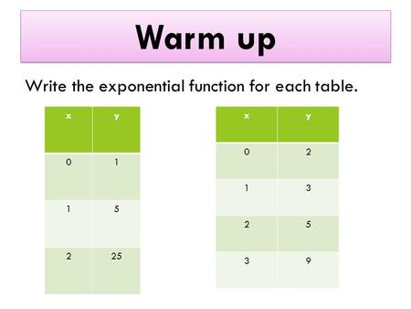 Warm up Write the exponential function for each table. xy 01 15 225 xy 02 13 25 39.