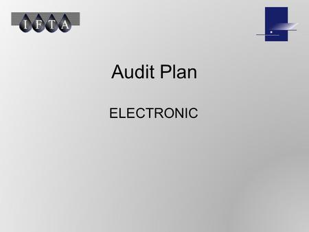 Audit Plan ELECTRONIC. PLANNING Auditor Independence Training and Proficiency Professional Care Audit program Working Paper Documentation.