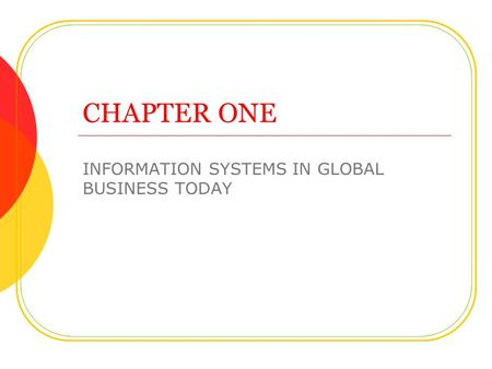CHAPTER ONE INFORMATION SYSTEMS IN GLOBAL BUSINESS TODAY.