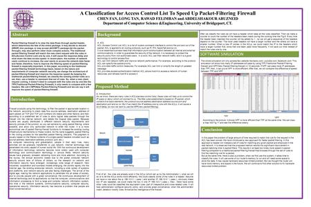 A Classification for Access Control List To Speed Up Packet-Filtering Firewall CHEN FAN, LONG TAN, RAWAD FELIMBAN and ABDELSHAKOUR ABUZNEID Department.