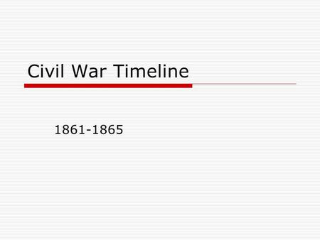 Civil War Timeline 1861-1865. 1860  Abraham Lincoln elected President in November 1860  South Carolina secedes in December Followed by Mississippi,