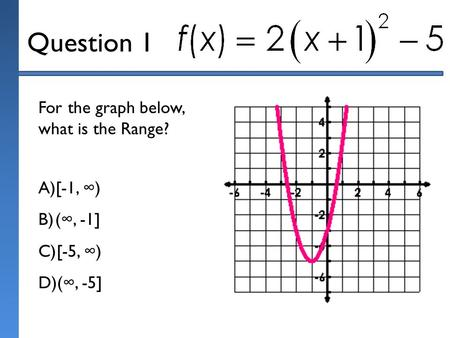 Question 1 For the graph below, what is the Range? A)[-1, ∞) B)(∞, -1] C)[-5, ∞) D)(∞, -5]