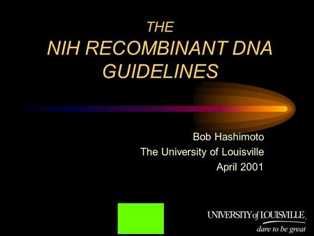 THE NIH RECOMBINANT DNA GUIDELINES Bob Hashimoto The University of Louisville April 2001.