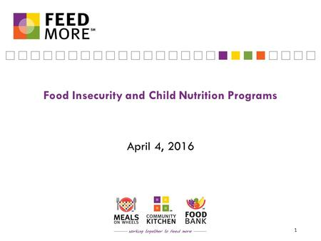 Food Insecurity and Child Nutrition Programs April 4, 2016 1.