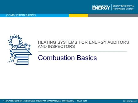 1 | WEATHERIZATION ASSISTANCE PROGRAM STANDARDIZED CURRICULUM – March 2011eere.energy.gov COMBUSTION BASICS HEATING SYSTEMS FOR ENERGY AUDITORS AND INSPECTORS.