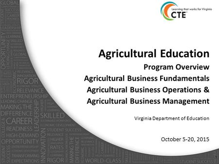 Agricultural Education Program Overview Agricultural Business Fundamentals Agricultural Business Operations & Agricultural Business Management Virginia.