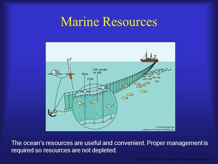 © 2002 Brooks/Cole, a division of Thomson Learning, Inc. The ocean's resources are useful and convenient. Proper management is required so resources are.