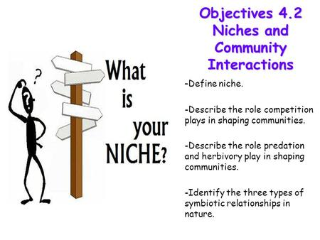 Lesson Overview Lesson Overview Niches and Community Interactions Objectives 4.2 Niches and Community Interactions - - Define niche. -Describe the role.