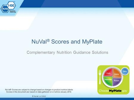NuVal ® Scores and MyPlate Complementary Nutrition Guidance Solutions NuVal® Scores are subject to change based on changes to product nutrition labels.
