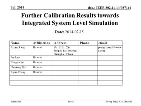 Submission doc.: IEEE 802.11-14/0871r1 Jul. 2014 Jiyong Pang, et. al. Huawei Further Calibration Results towards Integrated System Level Simulation Date: