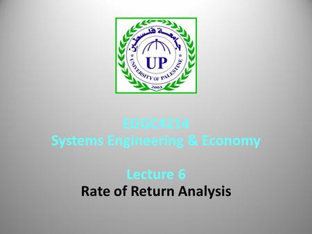 EGGC4214 Systems Engineering & Economy Lecture 6 Rate of Return Analysis 1.