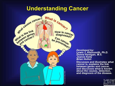 Understanding Cancer Developed by: Lewis J. Kleinsmith, Ph.D. Donna Kerrigan, M.S. Jeanne Kelly Brian Hollen Discusses and illustrates what cancer is,