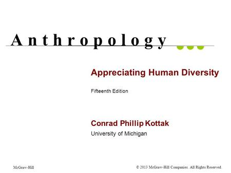 Appreciating Human Diversity Fifteenth Edition Conrad Phillip Kottak University of Michigan A n t h r o p o l o g y McGraw-Hill © 2013 McGraw-Hill Companies.