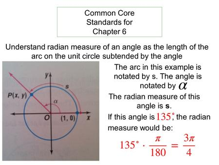 Understand radian measure of an angle as the length of the arc on the unit circle subtended by the angle Common Core Standards for Chapter 6 The arc in.