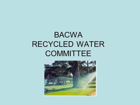 BACWA RECYCLED WATER COMMITTEE. Recycled Water Committee 16 agencies represented Coordinate and collaborate on short-term and long-term regional water.