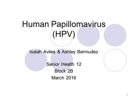 1 Human Papillomavirus (HPV) Isaiah Aviles & Ashley Bermudez Senior Health 12 Block 2B March 2016.