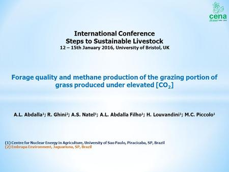 Forage quality and methane production of the grazing portion of grass produced under elevated [CO 2 ] A.L. Abdalla 1 ; R. Ghini 2 ; A.S. Natel 1 ; A.L.