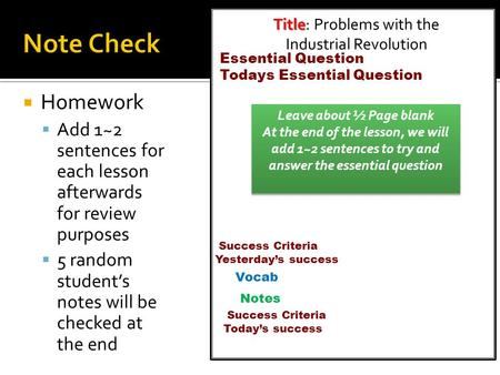  Homework  Add 1~2 sentences for each lesson afterwards for review purposes  5 random student's notes will be checked at the end Title Title: Problems.