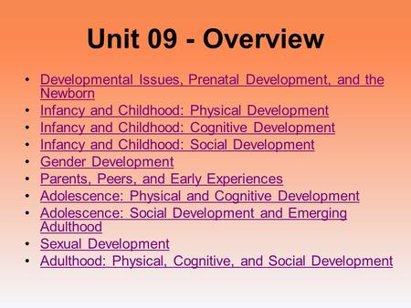 Unit 09 - Overview Developmental Issues, Prenatal Development, and the NewbornDevelopmental Issues, Prenatal Development, and the Newborn Infancy and Childhood: