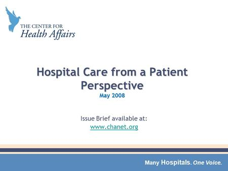 Many Hospitals. One Voice. Hospital Care from a Patient Perspective May 2008 Issue Brief available at: www.chanet.org.
