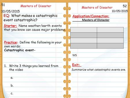 52 Masters of Disaster 10/05/2015 51 10/05/2015 Starter: Name weather/earth events that you know can cause major problems. Application/Connection: Masters.