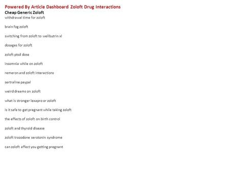 lyrica zoloft drug interactions