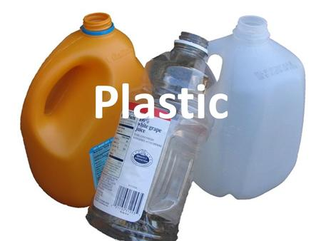 Plastic. There are 6 types of plastics 1.Polyethlene 2. Polyethlene 3.Polyvinyl chloride 4.polyethlene 5.polypropylene 6.polystyrene.