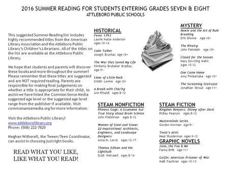 2016 SUMMER READING FOR STUDENTS ENTERING GRADES SEVEN & EIGHT ATTLEBORO PUBLIC SCHOOLS This suggested Summer Reading list includes highly recommended.